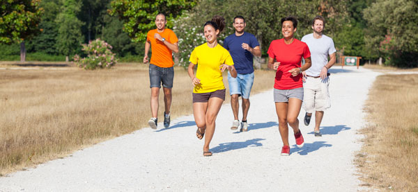 Group of people running together